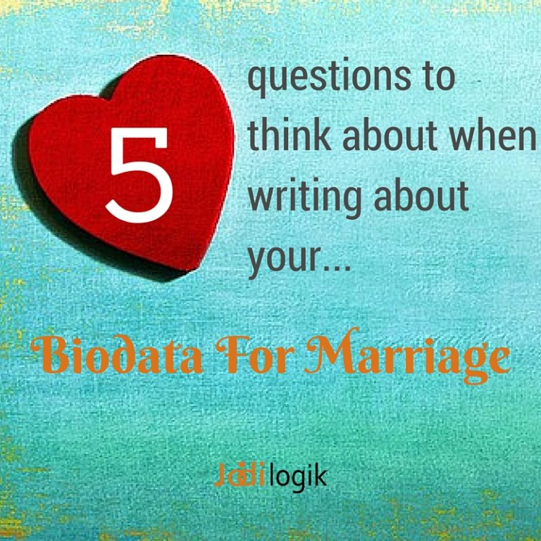 "Image with a heart shaped icon with the tagline ""5 questions to think about when writing about your biodata for marriage"""