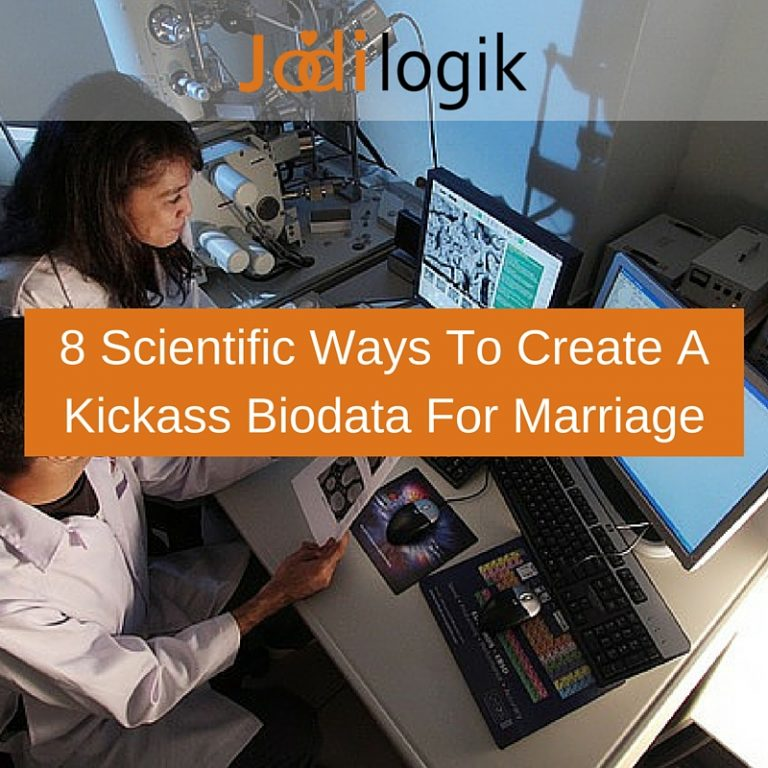 Image showing scientists at work with a caption that reads 8 scientific ways to create a kickass biodata for marriage.