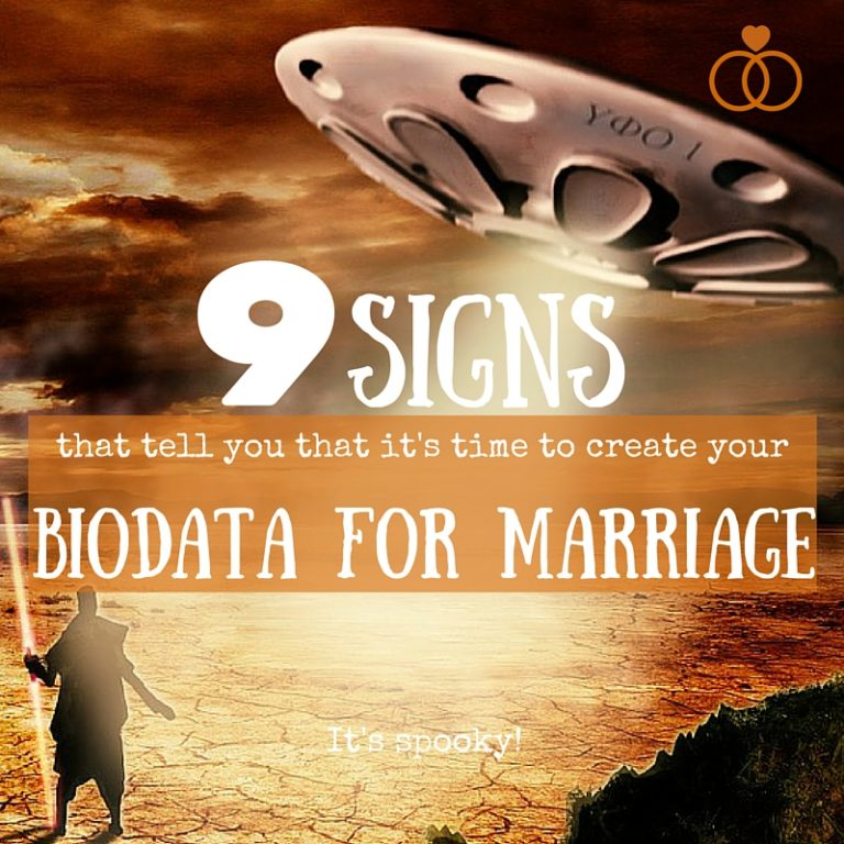 "Image showing an UFO landing on earth with the caption ""9 signs that it's time to create your biodata for marriage."""