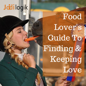 "Image showing a horse and a female jockey sharing a carrot with the title ""Food Lovers' Guide to Finding and Keeping Love"""