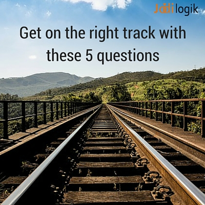 "Image showing a railway track with the caption ""Get on the right track with these 5 questions"""