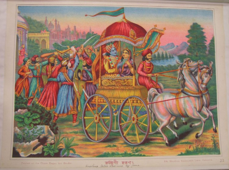 Krishna_and_Rukmini_ride_away_in_a_chariot