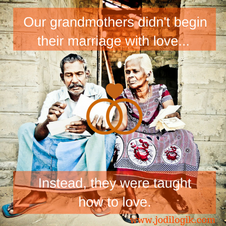 "Image of an elderly couple with the caption ""Our grandparents didn't begin their marriage with love. Instead, they were taught how to love"". This seems to suugest that an arranged marriage lasts longer."