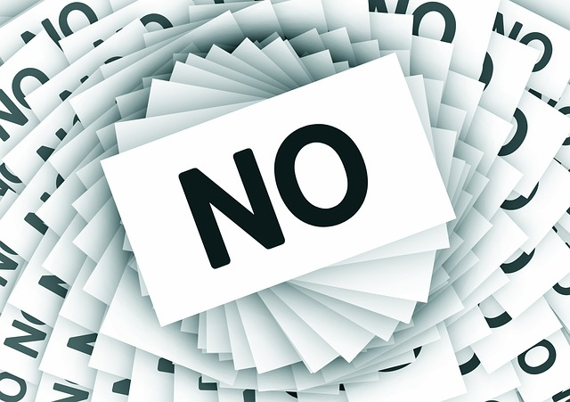 "Image showing the word ""NO"". This is depicting the fact that getting rejected because of the biodata for marriage can be reduced by paying attention."