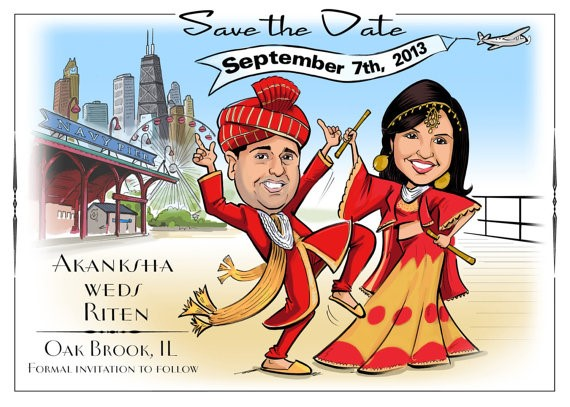 Illustrated Wedding Invitation with Indian Theme