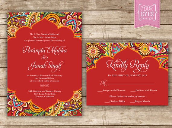 Wedding invitation with a lot of colour