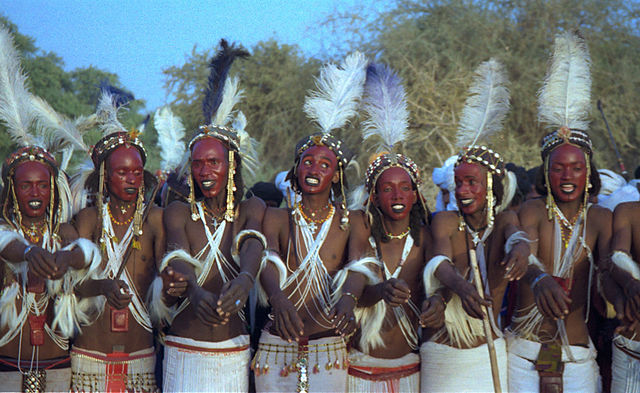Wodaabe men have a strange matchmaking ritual. The men have to impress the women to get married.