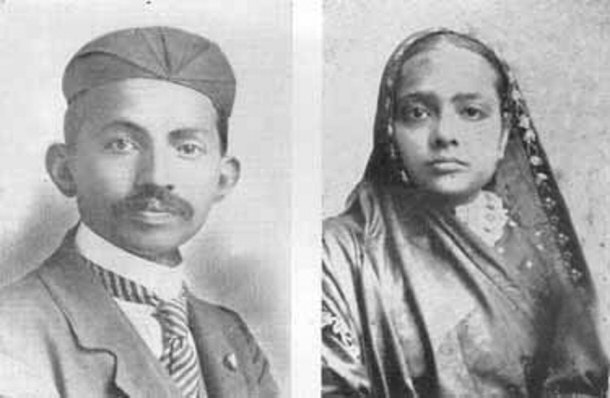 Image showing Gandhi and his wife, Kasturba