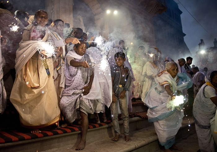 Widows take part in Diwali celebrations in Varanasi