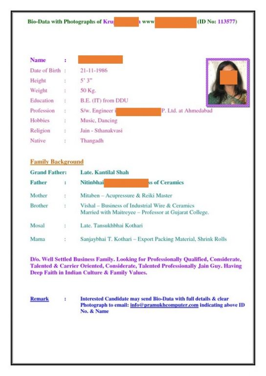 Sample biodata for matrimony