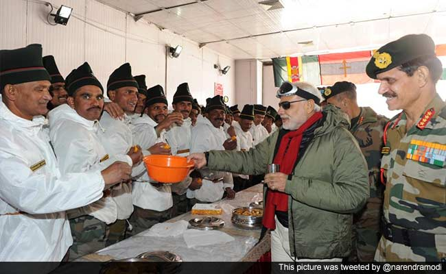 Indian Army Jawans and Modi at Diwali Celebrations in the SIachen area