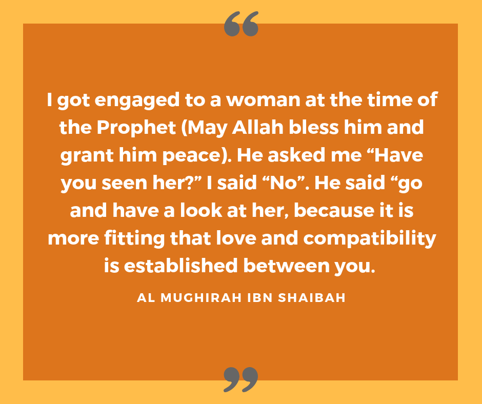 Arranged marriage quote from the companion of Prohet Mohammed