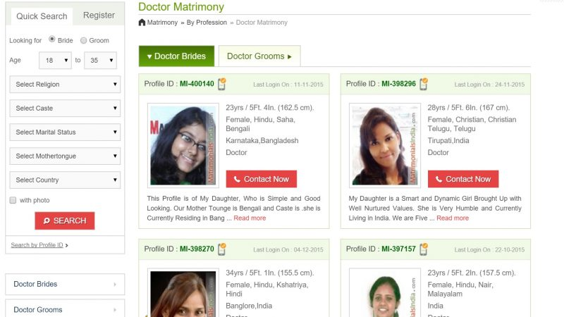 Marrying a doctor? Just check out matrimony sites.
