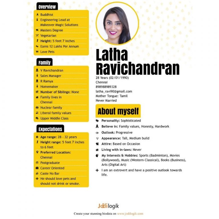 Jodi Logik Eassy Comprehensive Biodata Template
