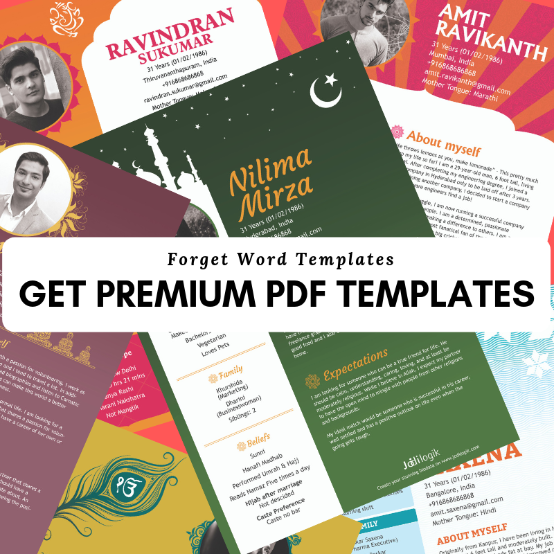 Premium Marriage Biodata Templates in PDF