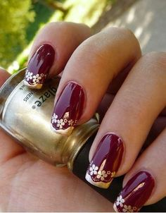 17 cool nail art designs for the indian bride maroon and gold nail art designs prinsesfo Images