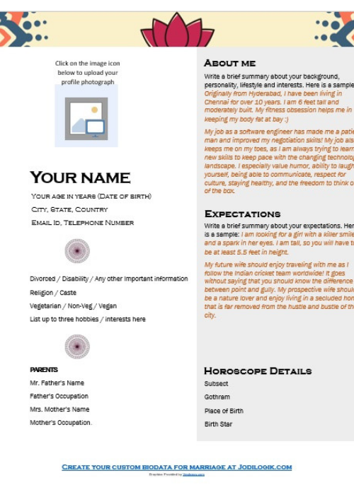 Biodata Format For Marriage (15 Templates + 7 Samples)