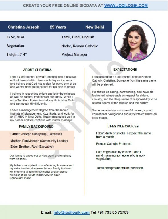 marriage biodata format for christian girl - Matrimonial Resume Format