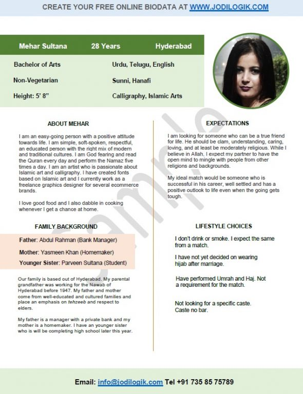 marriage biodata format for muslim girl - Matrimonial Resume Format