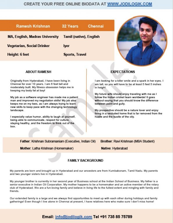 marriage cv sample in india