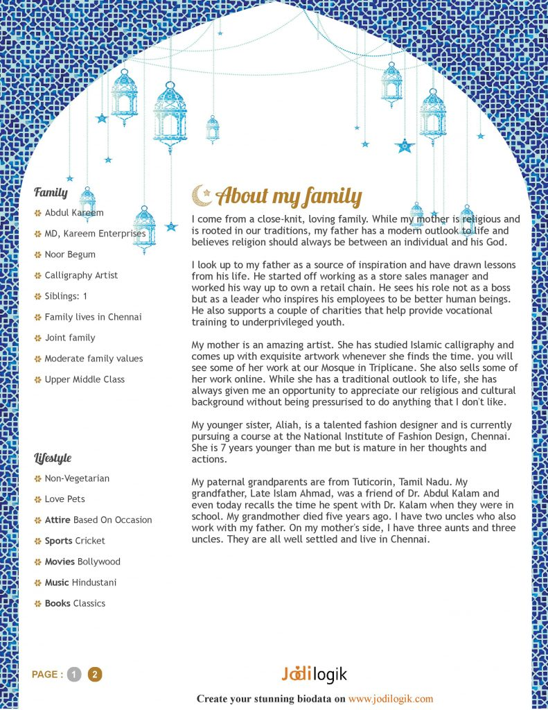 how to write a muslim marriage biodata  samples you can copy