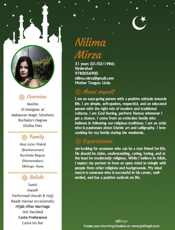 Muslim marriage biodata format for a girl