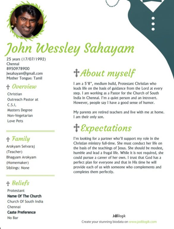 christian marriage biodata for boy - Matrimonial Resume Format