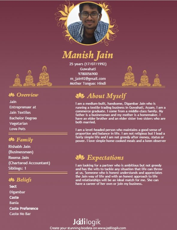 jain marriage biodata samples for men and women