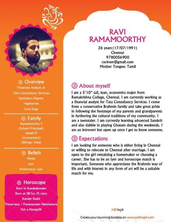 marriage biodata for a hindu boy sample - Matrimonial Resume Format