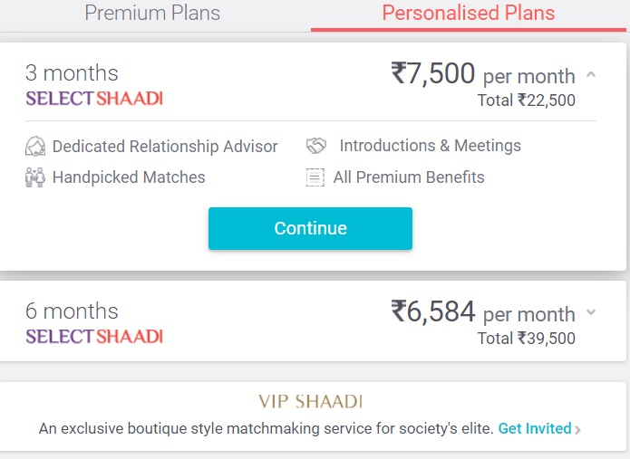 Shaadi.com personalised membership plans