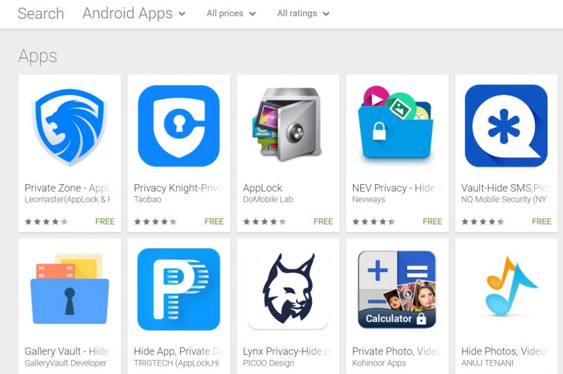 Privacy apps on Google Play Store