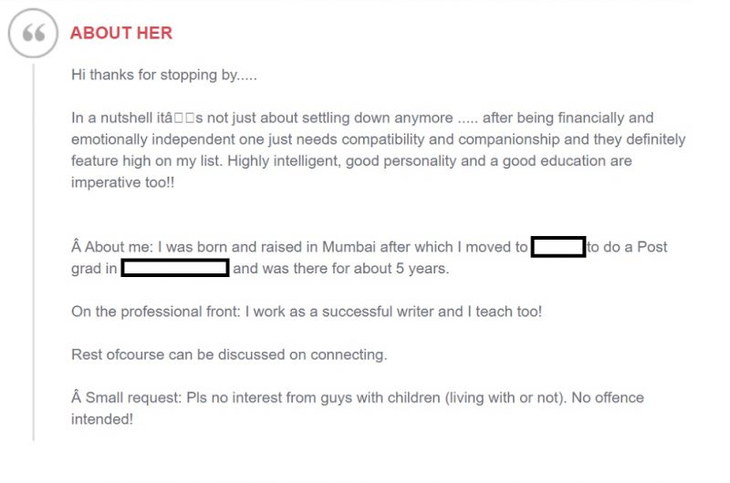 Shaadi.com profile written by self