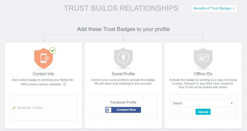 Shaadi.com profile trust badges