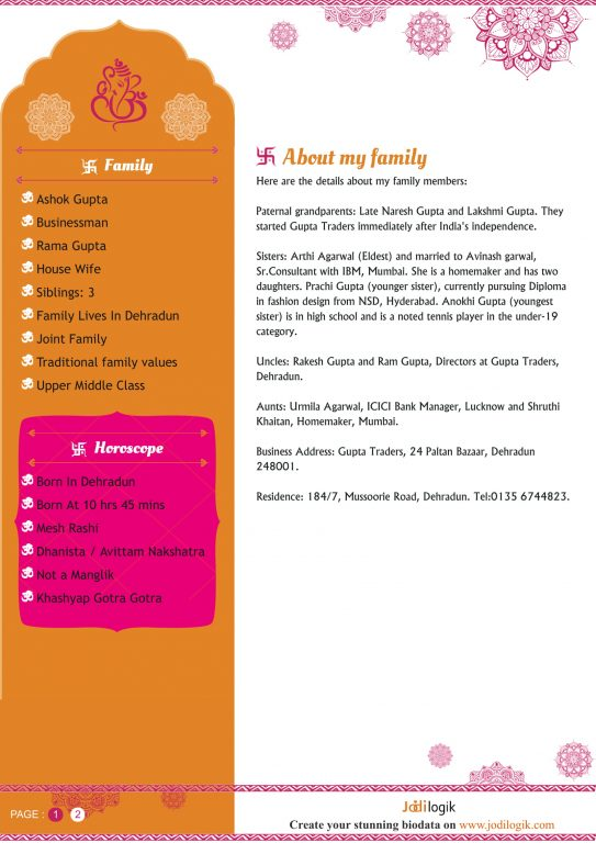Hindu Marriage Biodata Format For Download With Bonus Word Template