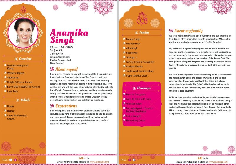 Biodata for marriage of Hindu girl