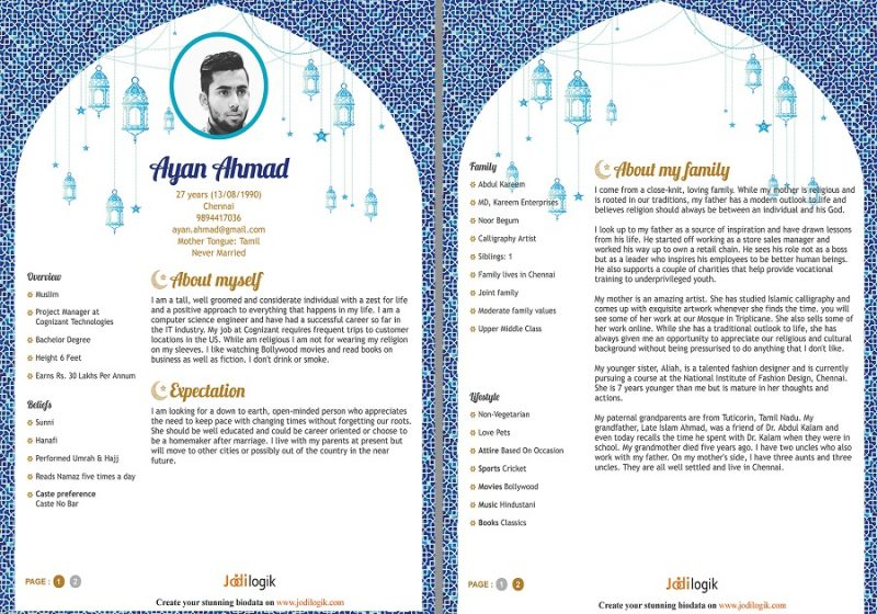 Muslim marriage biodata for a boy