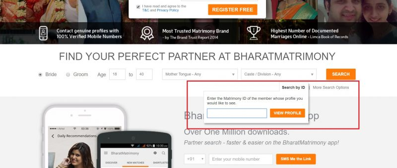 bharat matrimony id search