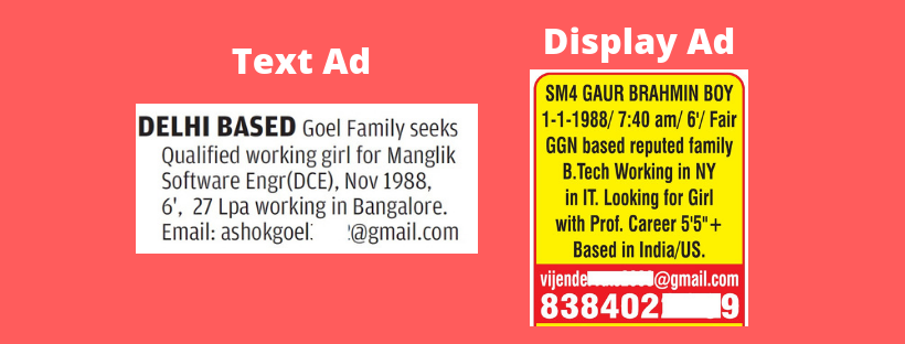 Text and display ad for newspaper matrimonial classifieds